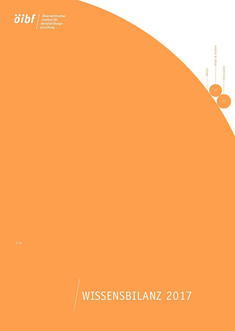 Coverbild Wissensbilanz 2017 - Deckblatt Printausgabe in Orange & Weiß mit öibf-Logo