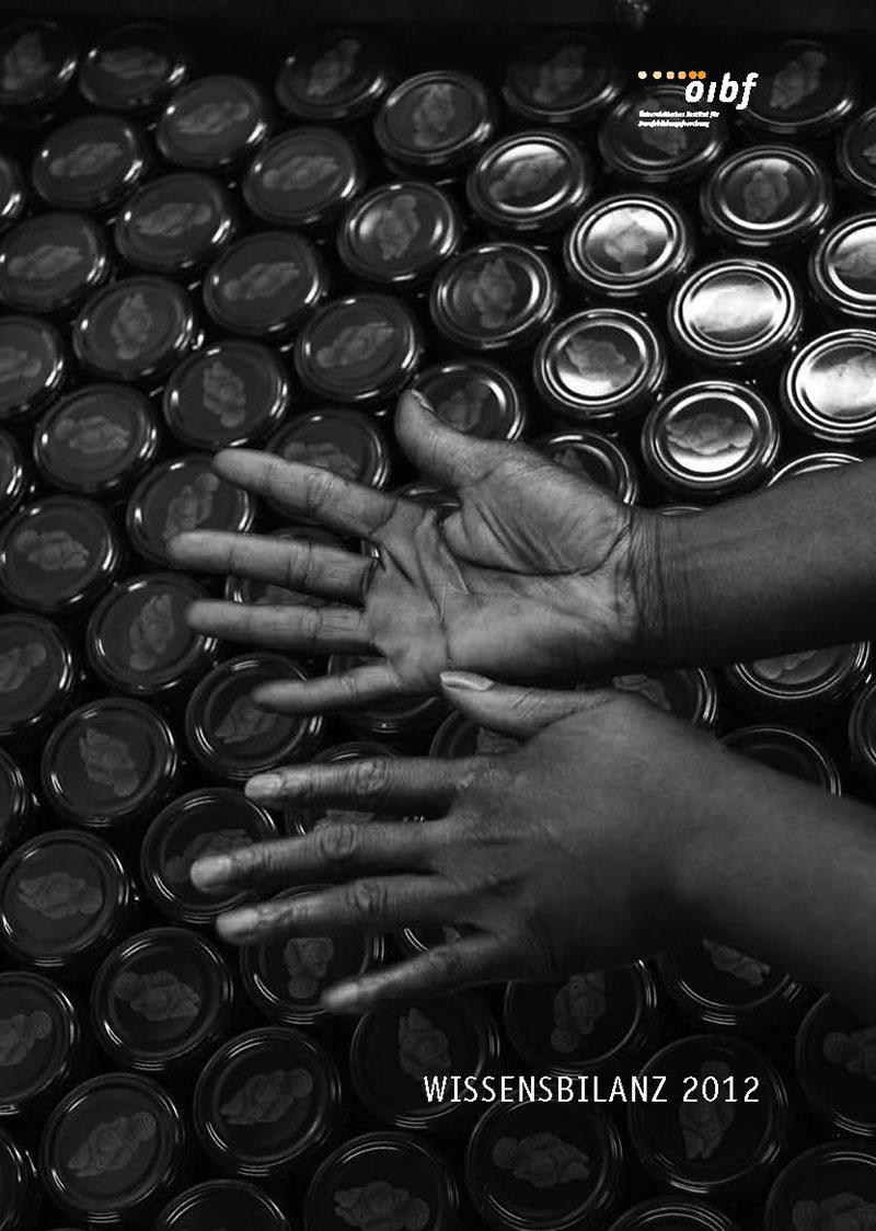 Coverbild Wissensbilanz 2012 - Abbildung zweier Hände über ein Dosen-Meer